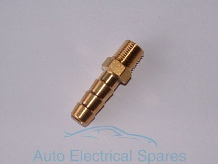 "080955 8mm fuel / water / air HOSE NIPPLE BRASS thread 1/8"" x 27 NPTF"